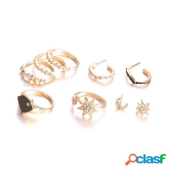 Estrela boêmio orelha conjunto de anéis de junta 9 peças diamante anéis de dedo estrela lua brincos para as mulheres