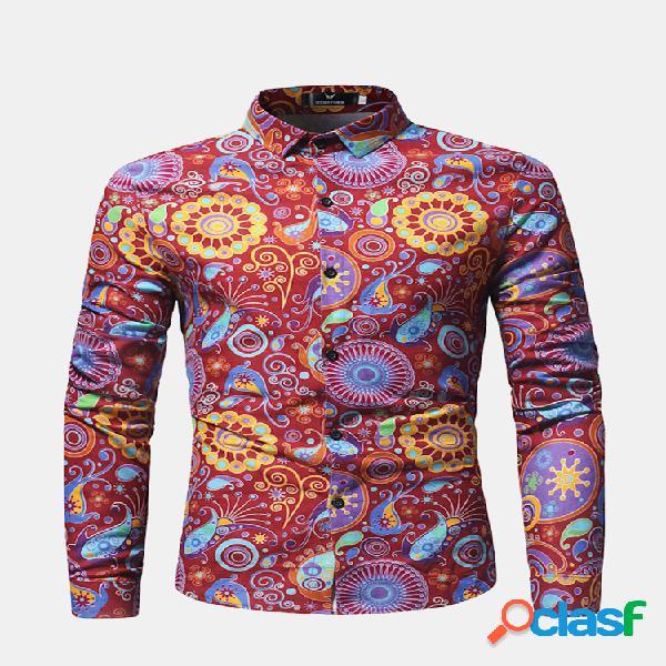 Floral bloom turn down collar manga comprida casual camisa para homens