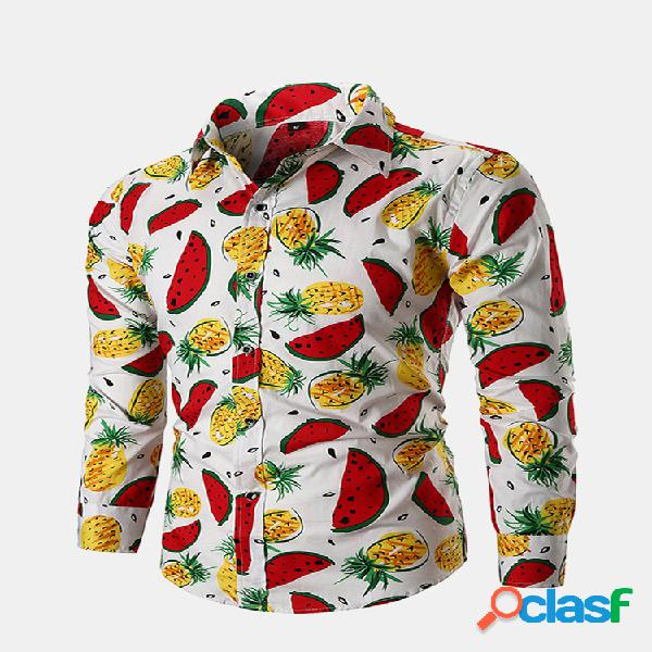 Fruta impressa turn down collar manga comprida casual camisa para homens