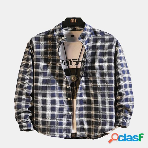 Manta casual de algodão turn down collar loose fit linho de manga comprida camisa para homens