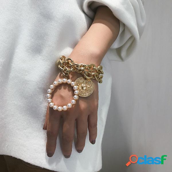 Pulseira de pérolas de caranguejo exagerada pulseira de corrente de metal hallow pulseira de várias camadas punk para mulheres
