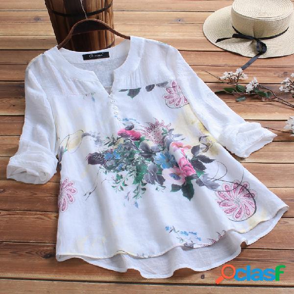 Blusa com estampa vintage patchwork plus tamanho feminino