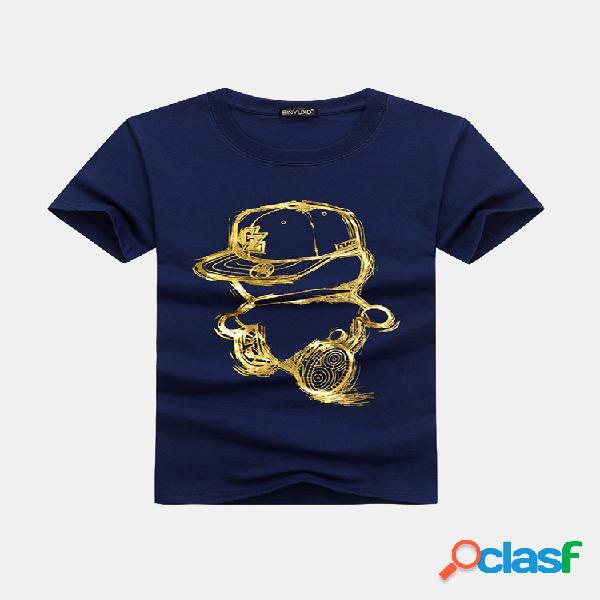 Camiseta de manga curta estampada cartoon casual para homens