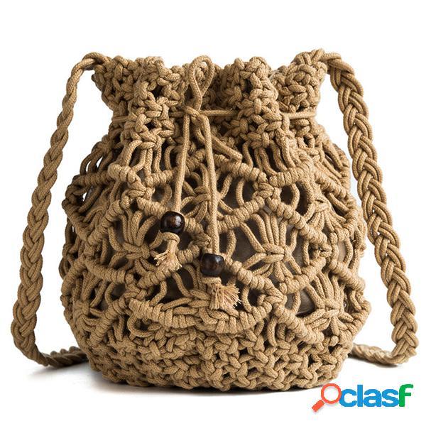 Crossbody oco feminino bolsa palha bolsa travel praia balde bolsa