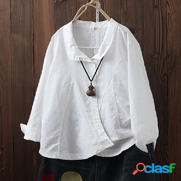 Lapela de botão irregular vintage de cor sólida plus tamanho camisa