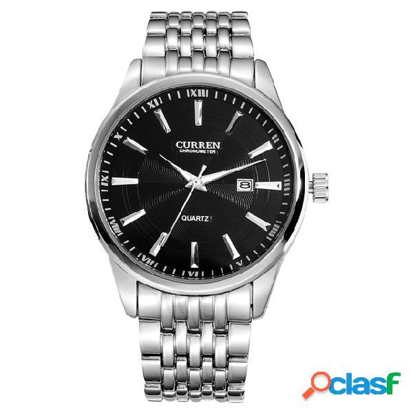 Relógio de pulso masculino de aço completo estilo casual com exibição de data relógios de quartzo