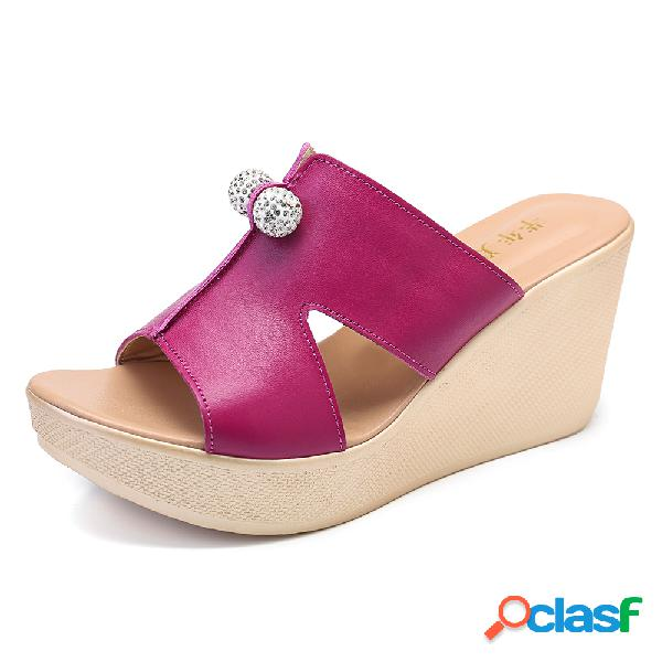 Tamanho grande mulheres confortável peep toe strass oco cunhas calcanhar desliza sandálias
