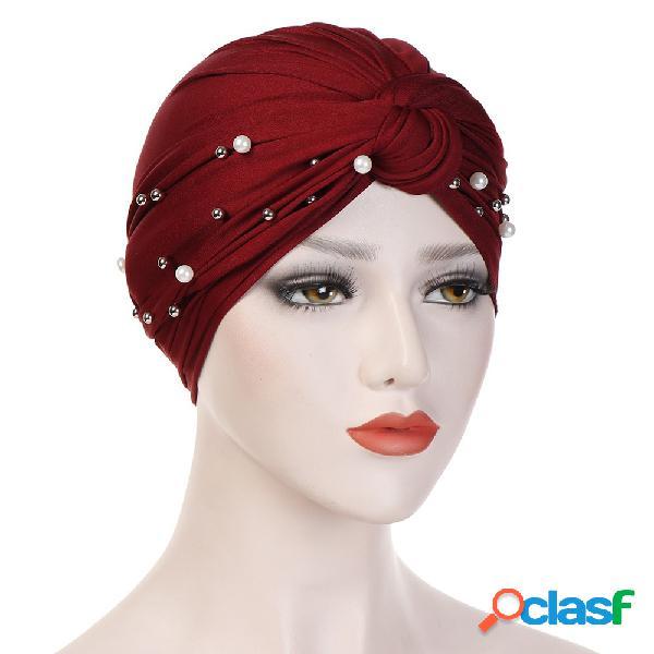 Womens vintage tie bean beanie cap leite de seda casuais soft capô sólido chapéu headpiece