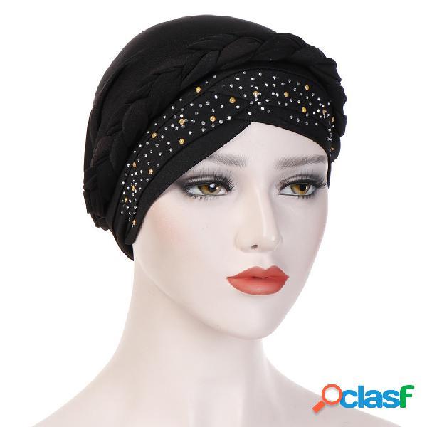 Womens vintage tie point broca beanie cap leite de seda casual soft capô sólido chapéu headpiece
