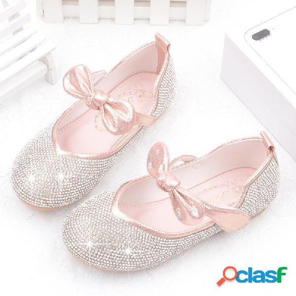 Meninas bling superior bowknot congelado elsa princesa rhinestone plano shoes