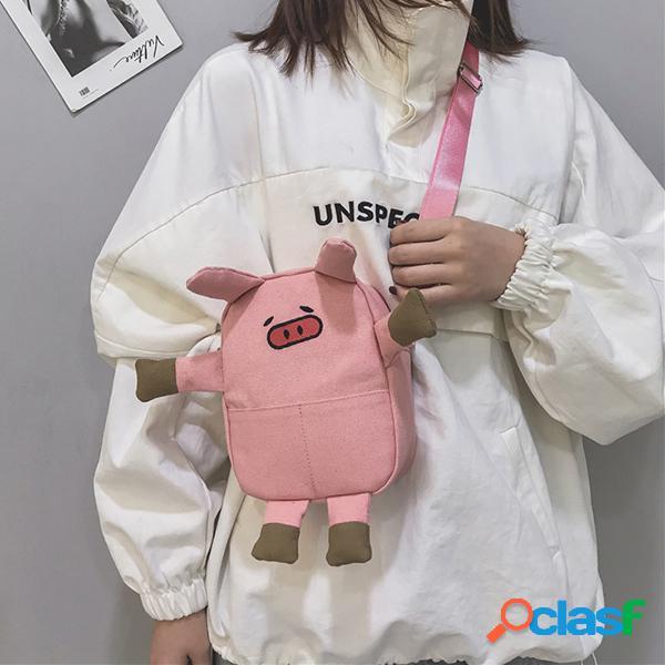Porco bonito dos desenhos animados forma canvas bolsa crossbody bolsa para mulheres meninas