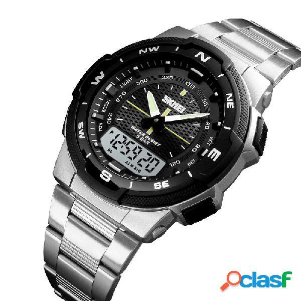 Relógio de pulso masculino estilo empresarial chrono relógio digital duplo relógio à prova d'água de aço inoxidável