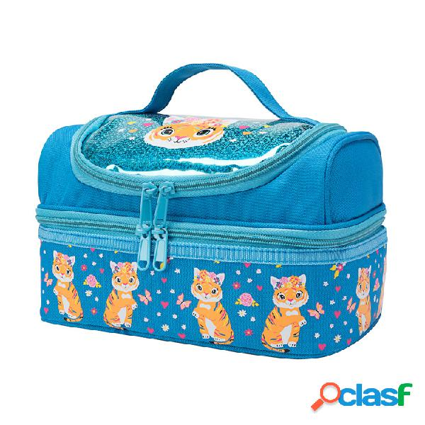 Animal bonito dos desenhos animados padrão almoço bolsa isolamento bolsa almoço em duas camadas bolsa gelo durável bolsa