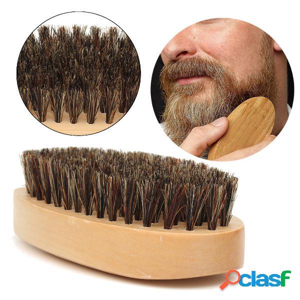Barba de homem de madeira escova madeira redonda dura de javali bigode de cerdas escova para barba de homem cabelo cuidados