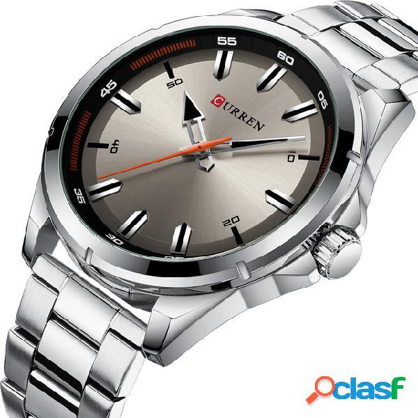 Curren 8320 estilo de negócios homens relógio de pulso de aço inoxidável design relógio de quartzo