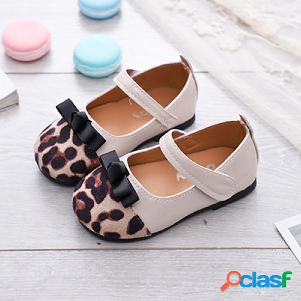 Meninas leopardo bowknot decor gancho loop linda mary jane sapatos