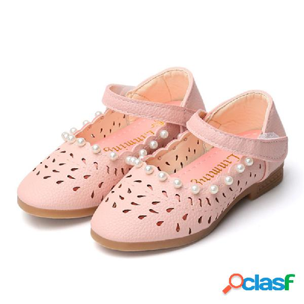 Meninas pearl decor oco respirável gancho loop mary jane sapatos