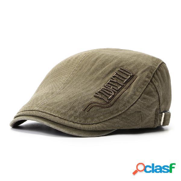 Mens womens verão algodão bordado cap bereta pato chapéu sombrinha casual ao ar livre repicado cap para a frente