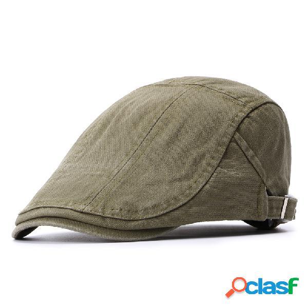 Mens womens verão algodão retro boina cap pato chapéu sunshade casual ao ar livre repicado cap para a frente