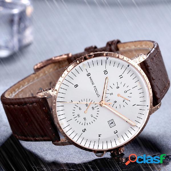 Relógio masculino com pulseira de couro, estilo casual, relógios luminosos de quartzo