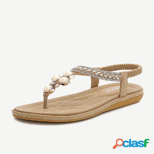 Tamanho grande de strass em forma de t em sandálias casuais