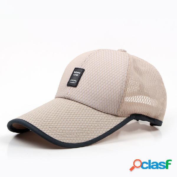 Mens womens verão acrílico malha visor boné de beisebol ao ar livre respirável esportes ajustáveis casuais chapéu