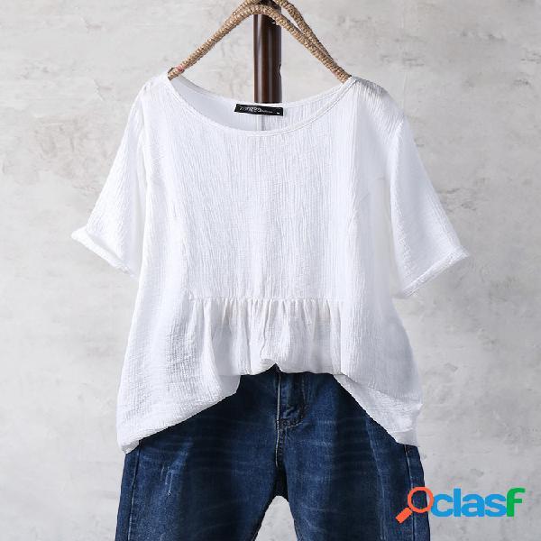 Plissado de cor sólida plissado meia manga vintage plus tamanho blusa