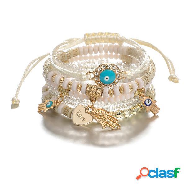 Pulseira bohemian mão frisada bracelete multi-camada 6 peças para mulheres bracelete frisada