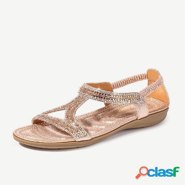 Tamanho grande com lantejoulas abertas no dedo do pé em sandálias praia