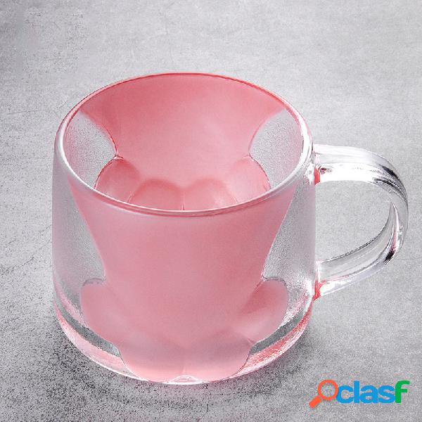 Garra de gato de vidro forma caneca de café garra de gato bonito copo de leite duas cores caneca de água combinada chá copo de suco