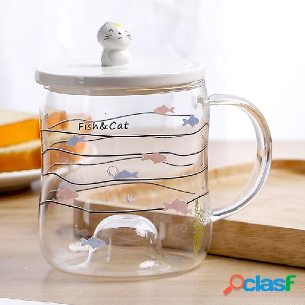 Copo de vidro dos desenhos animados chá caneca de café bonito bonito padrão copo de água exclusivo com colher e tampa