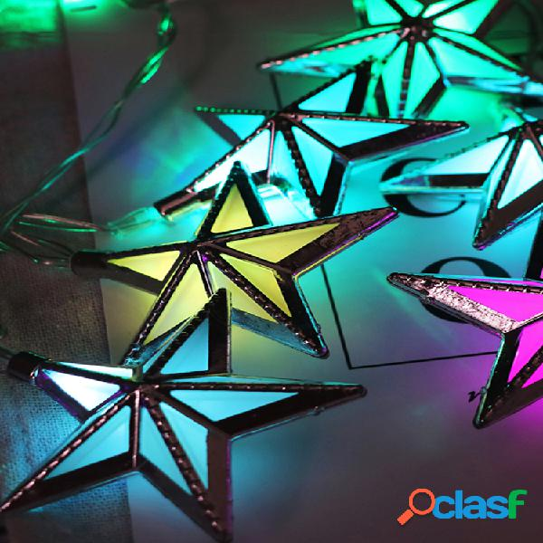 Luz do ramadão que bling luz quente estrela forma de corda luz de metal shell corda luz durável doce decoração