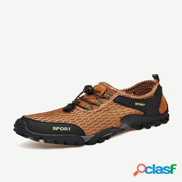 Tênis masculino de malha respirável antiderrapante e tamanho grande para caminhada