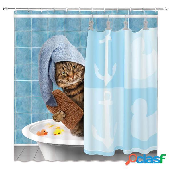 180 * 180 cm simulação gato bonito banho banheiro cortina de chuveiro tecido impermeável com 12 ganchos
