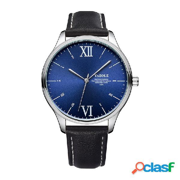 Bracelete de couro preto moda com mostrador simples masculino classic relógio comercial de quartzo
