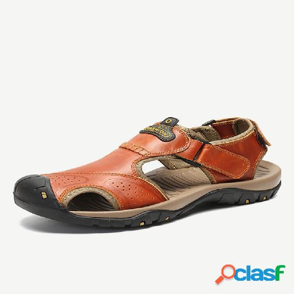 Homens ao ar livre fechado toe non slip gancho loop caminhadas sandálias de couro