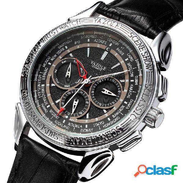 Relógio masculino de seis pinos de quartzo estilo esportivo de couro de cintura relógio de quartzo impermeável