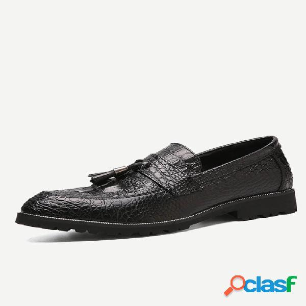 Sapatos casuais de couro com borla masculina