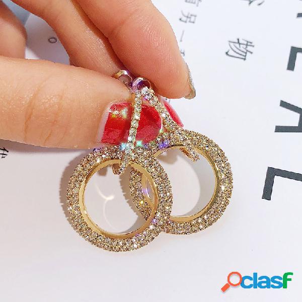 Strass completo na moda redonda brincos diamante brilhante orelha gota para mulheres