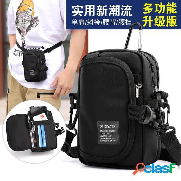 Exclusivo para ombro dos homens diagonal cross-body esportes ao ar livre bolsa do telefone móvel oxford pano multi-função sports pockets