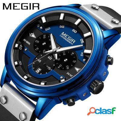 Relógio de pulso cronógrafo à prova d'água casual de couro relógio de pulso masculino quartzo relógios esportivos