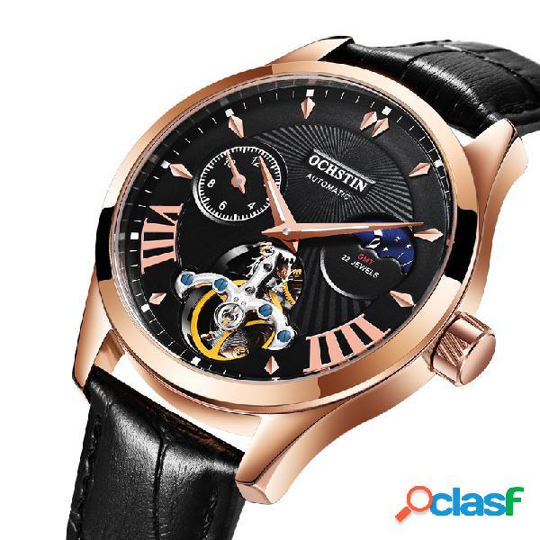 Relógios de pulso masculinos de luxo mecânico luminoso à prova d'água de couro casual homem relógio