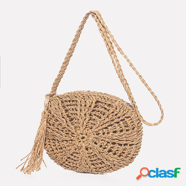 Womens tassel rattan palha bolsa bolsa de vime crossbody bolsa praia praia bolsa