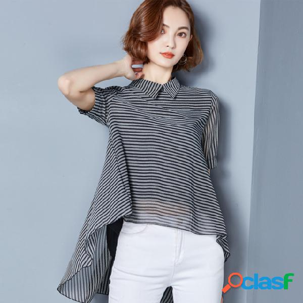 Listrado camisa feminino retro port sabor novo solto curto mangas curtas camisa chiffon aberto camisa maré