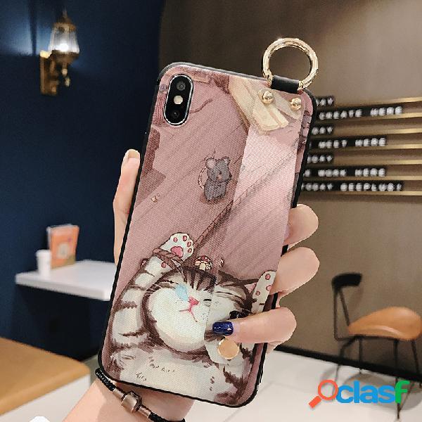 Mulher gato animal bonito dos desenhos animados criativo telefone móvel tpu soft shell