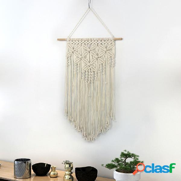 100% algodão boêmio cor sólida feita à mão macramé decoração de parede tecido tecido decoração tapeçaria macrame
