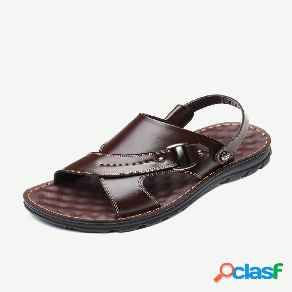Tira de salto ajustável confortável de dedo aberto masculino praia sandálias de couro
