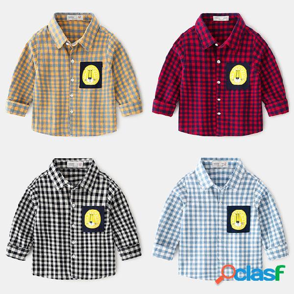 Meninos camisa manga comprida xadrez moda conforto moda lapela camisa