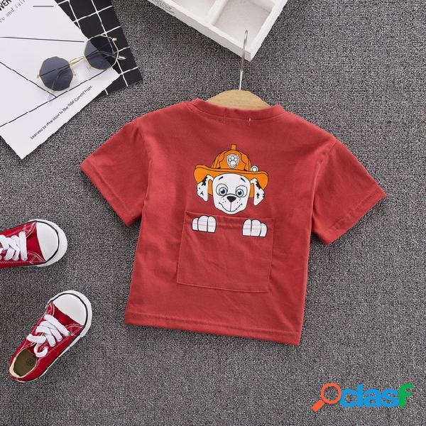 Meninos t-shirt de manga curta de algodão camisa ocasional tendência pequenas roupas infantis dos desenhos animados t-shirt à espera