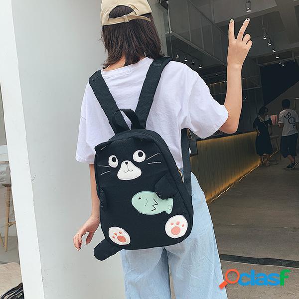 Ombro saco de lona dos desenhos animados padrão ombros estudante campus selvagem harajuku estilo pequeno fresco bonito saco de pano